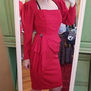VTG BB Collections Fire Engine 80s Midi Dress